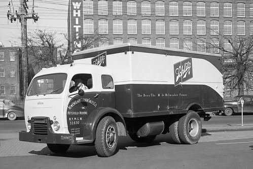 New England Liquor Sales, Holyoke, MA 1953, White Cab Over Truck