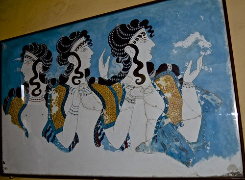 Ancient Palace of Knossos, Crete , fresco, three women,