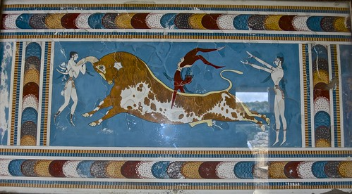 Ancient Palace of Knossos, Crete, fresco, bull.