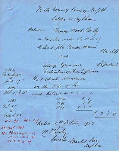 Draft for Summons to George Grimson, Aylsham, Norfolk for non-payment of Medical services by Dr. Morton. 8th October 1903