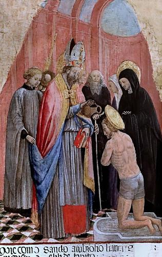 IMG_4186 Antonio Vivarini 1415-1484 Venise Sant Ambroise baptise saint Augustin  Sant Ambrose baptizes Saint Augustine 1440 Bergamo Accademia Carrara
