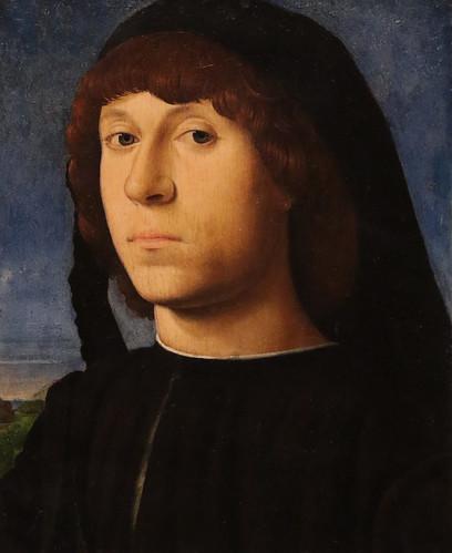 Antonello da Messina (Antonio di Giovanni de Antonio - Messina, 1430 – Messina, febbraio 1479) - Ritratto di giovane (1478) olio su tavola di noce -  Dimensioni 20,5x14,5  cm  - Berlino, Gemäldegalerie