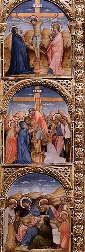IMG_4176 Lorenzo da Venezia (Maestro di Ceneda)  actif à Venis à partir de 1429 Vierge à l'Enfant avec des Anges et Saints Dominique, une moniale dominicaine. Histoire de la vie du Christ. vers 1460 Virgin and Child with Angels and Saints Dominica, a Domi