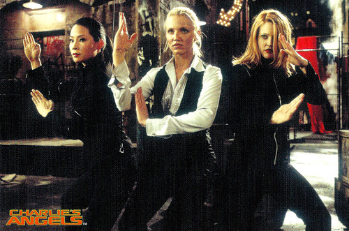 Lucy Liu, Cameron Diaz and Drew Barrymore in Charlie's Angels (2000)