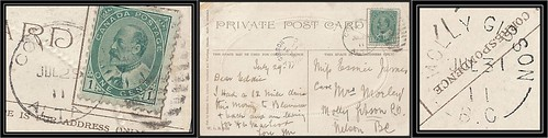 British Columbia / B.C. Postal History - 29 / 31 July 1911 - Coleman, Alberta (duplex cancel) to MOLLY GIBSON, B.C. (split ring / broken circle cancel / postmark)