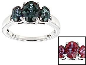 Blue Lab Created Alexandrite Rhodium Over Silver Ring 1.97ctw