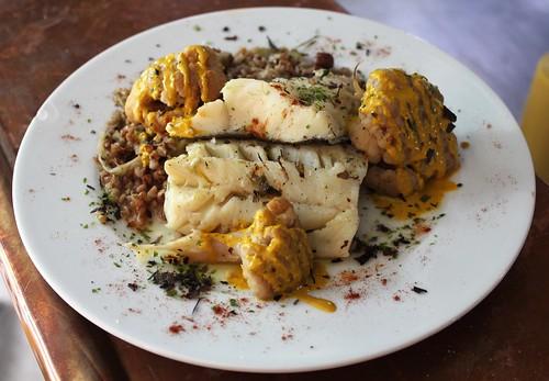 Lieu jaune au four, fenouil sauté au sumac & cumin, kasha de sarrasin, pommes grenailles