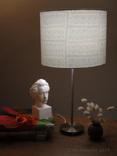 Hobbies: my 1st lampshade, Chris-printed Einstein, Alison's turned wooden vase