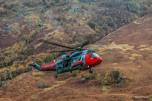 Royal Navy Rescue Helicopter in Glen Nevis, Lochaber.