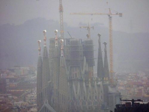 Sagrada Familia from the  Jardins del Mirador in Barcelona
