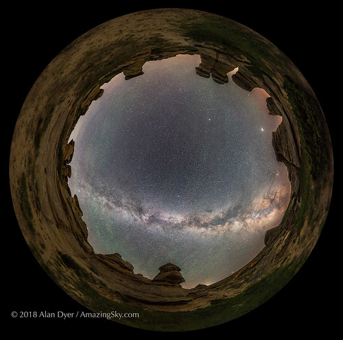 The Milky Way over Writing-on-Stone (Spherical Panorama)