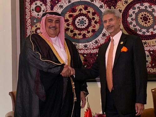 External Affairs Minister meets Khalid bin Ahmed Al Khalifa, Foreign Minister of  Bahrain in Dushanbe, Tajikistan (June 14, 2019)