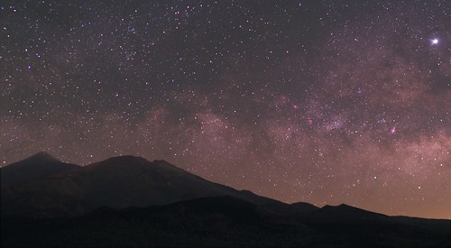 Teide, Pico Viejo, the Milky Way and Jupiter