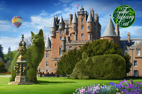 The Topiary Cats at Glamis Castle, Angus, Scotland