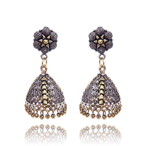 Handmade Traditional Dual Tone Gold-Silver Oxidised Jhumka Earring