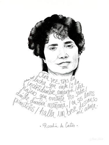 Rosalía de Castro, ilustración de Andrea Reyes. Feria del Libro 2019 (Madrid, España)