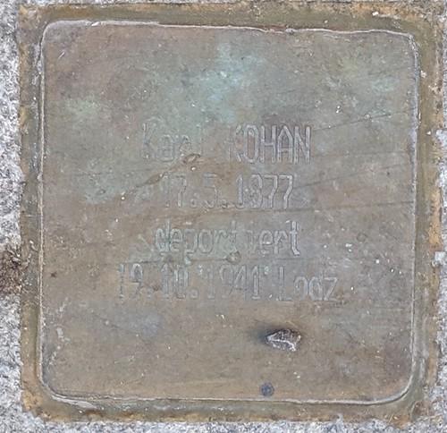 Karl KOHAN, 17.3.1877, deportiert 19.10.1941 Lodz