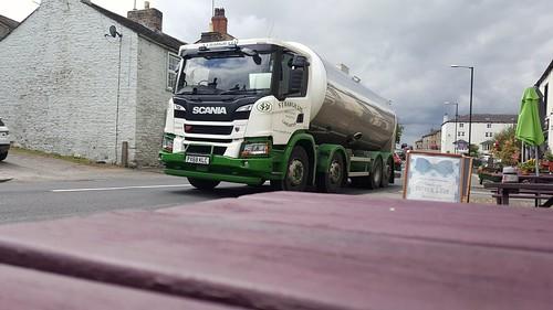An SJ Bargh Scania milk tanker passing through Gisburn on thr A59