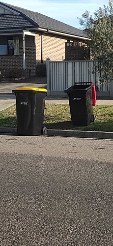 New Macedon Ranges Recycling and garbage bins. Council is doing a rollout.