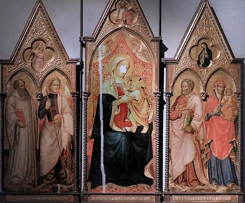 IMG_4101J Maestro di San Davino  connu à Lucca et Pisa 1397-1420 Vierge à l'Enfant, Anges, Saint Benoit, Michel, Joachim et Anne. Christ bénissant. Vierge et Ange de l'Annonciation Galleria Nazionale di Parma