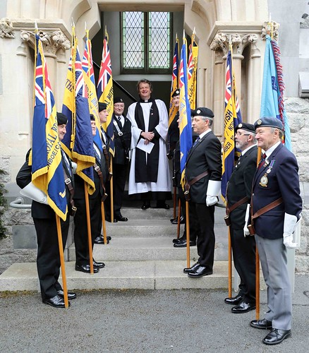 Rector, the Revd Gary Dowd, with the standard bearers at the service commemorating the 75th anniversary of the D–Day Landings. Photo credit: Patrick Hugh Lynch.