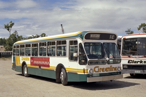 AEC Swift 691 (837) 1988 STA (450) as Greenline (017POH) offside at depot - Ian Lynas