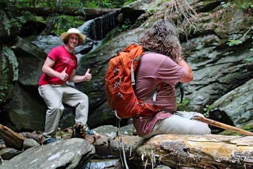 Scott photographing Spencer along Ledbetter Creek
