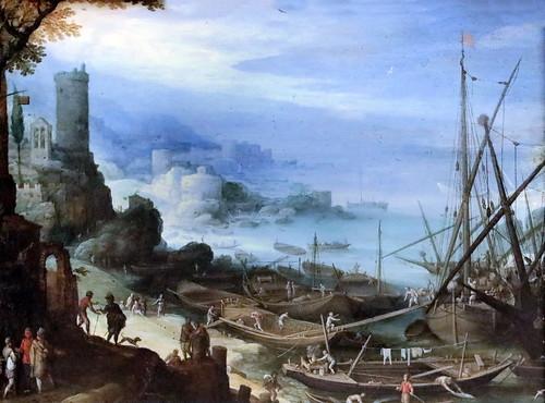 IMG_1211 Paul  Bril 1554-1626 Rome Paysage portuaire du sud  Südliche Hafenlandschaft.  Southern harbor landscape.  vers 1600 Schwerin.Staatliches Museum
