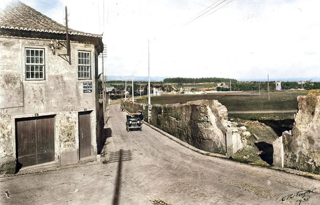 Estrada de Sacavém, Portela (Fototipia animada: original de E. Portugal, 1938)