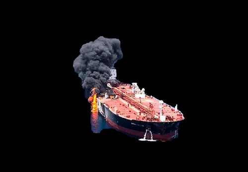One of two 'oil tankers', ablaze in the Gulf of Oman - JUNE 2019. [2].