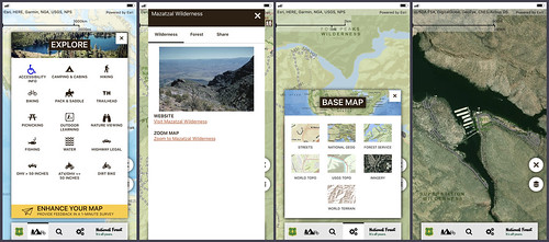 Four screenshots of the Forest Service's Visitor Map app