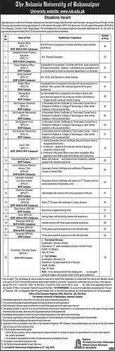 Islamia University Bahawalpur Jobs 19 June 2019