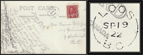 British Columbia / B.C. Postal History - 19 September 1922 - LOOS, B.C. (split ring / broken circle cancel / postmark) to New Westminster, B.C.