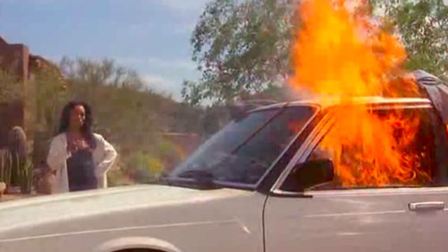 Video - Hell hath no fury like a woman scorned; wife burns hubby's car to ashes in a police station
