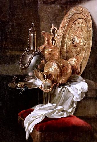 IMG_2218ZB Willem Kalf. 1619 1693. Amsterdam. Nature morte aux plats dorés. Still life with golden dishes. Rouen. Musée des Beaux Arts. Et une montre.... And a watch ....