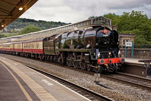 34046 Braunton arrives at Bath Spa in the evening light on the return of the Saphos Trains English Riviera Express 16th June 2019
