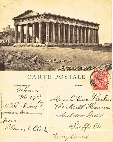 Post Card to Olive Parker, Mildenhall, Suffolk from Clarice Clarke, Athens, Greece. 9th April 1907