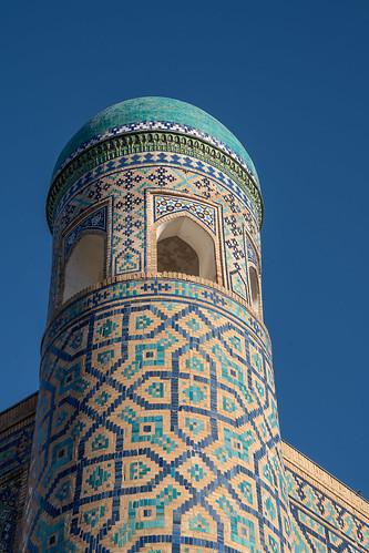 Corner turret on the Tillya Kari Madrassah (1646-1660), Registan, Samarkand
