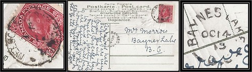 British Columbia / B.C. Postal History - 13 / 14 October 1915 - Nelson, B.C. (rpo cancel) to BAYNES LAKE, B.C. (split ring / broken circle cancel / postmark)