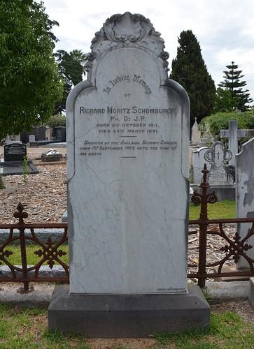 Nailsworth North Road Cemetery headstone of Richard M Schomburgk PhD JP Director of the Adelaide Botanic Garden. South Australia