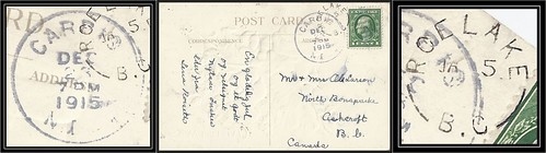 British Columbia / B.C. Postal History - 23 December 1915 / 5 January 1916 - Carpio, North Dakota to North Bonaparte / Ashcroft / ROE LAKE, B.C. (split ring / broken circle cancel / postmark)