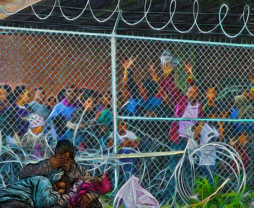 brown migrants imprisoned at the southern border