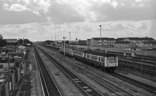 Two heritage dmus, Class 108 M54491 leading, forming the 09.39 London Marylebone-Aylesbury service approaching West Ruislip on 2July 1988.