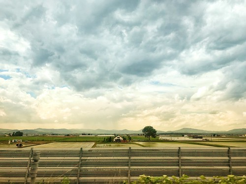 Beautiful sky view over rice fields in Hokkaido