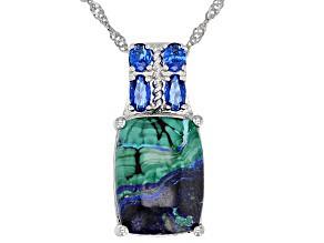Blue azurmalachite rhodium over silver pendant with chain .70ctw