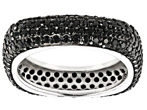 Black Spinel Rhodium Over Sterling Silver Square Band Ring 3.03ctw