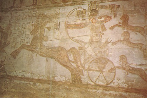 Egypt - Abu Simbel (Great Temple of Ramses II. Ramses II in a chariot with a bow and arrow at the Battle of Kadesh.)