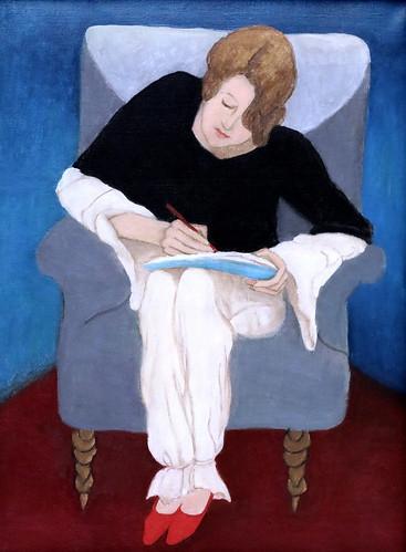 IMG_1993 Gabriele Münter  1877-1962 Murnau Dame dans un fauteuil, écrivant  Dame in Sessel, schreiben.  Lady in an armchair, writing  1929 München Lenbachhaus