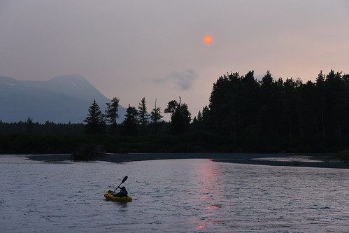 Packrafting on Portage Creek. Chugach National Forest, Alaska