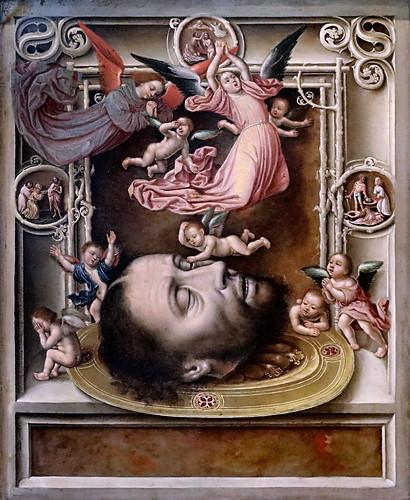 IMG_1200KZU X d'après Jan Mostaert 1475-1555 Haarlem La Tête de Jean Baptiste entourée d'anges The head of John the Baptist surrounded by angels Dijon . Musée des Beaux Arts